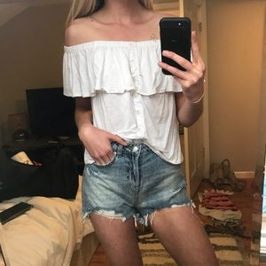 White off the shoulder flounce top